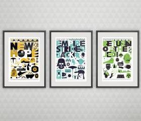 Star Wars Trilogy poster set, Movie poster, minimalistic movie poster, Baby Nursery Decor